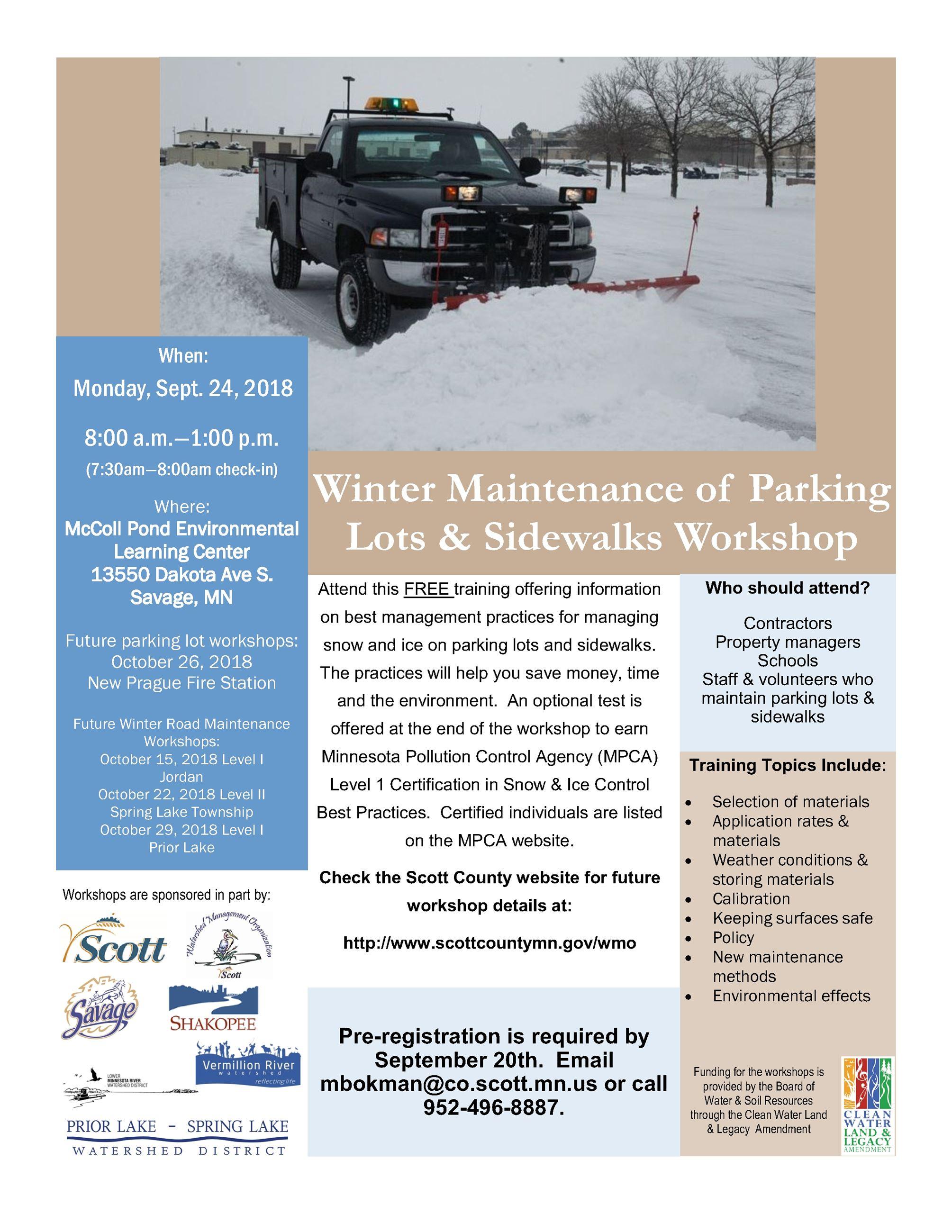 Free Snow Ice Management Trainings Scott County Mn