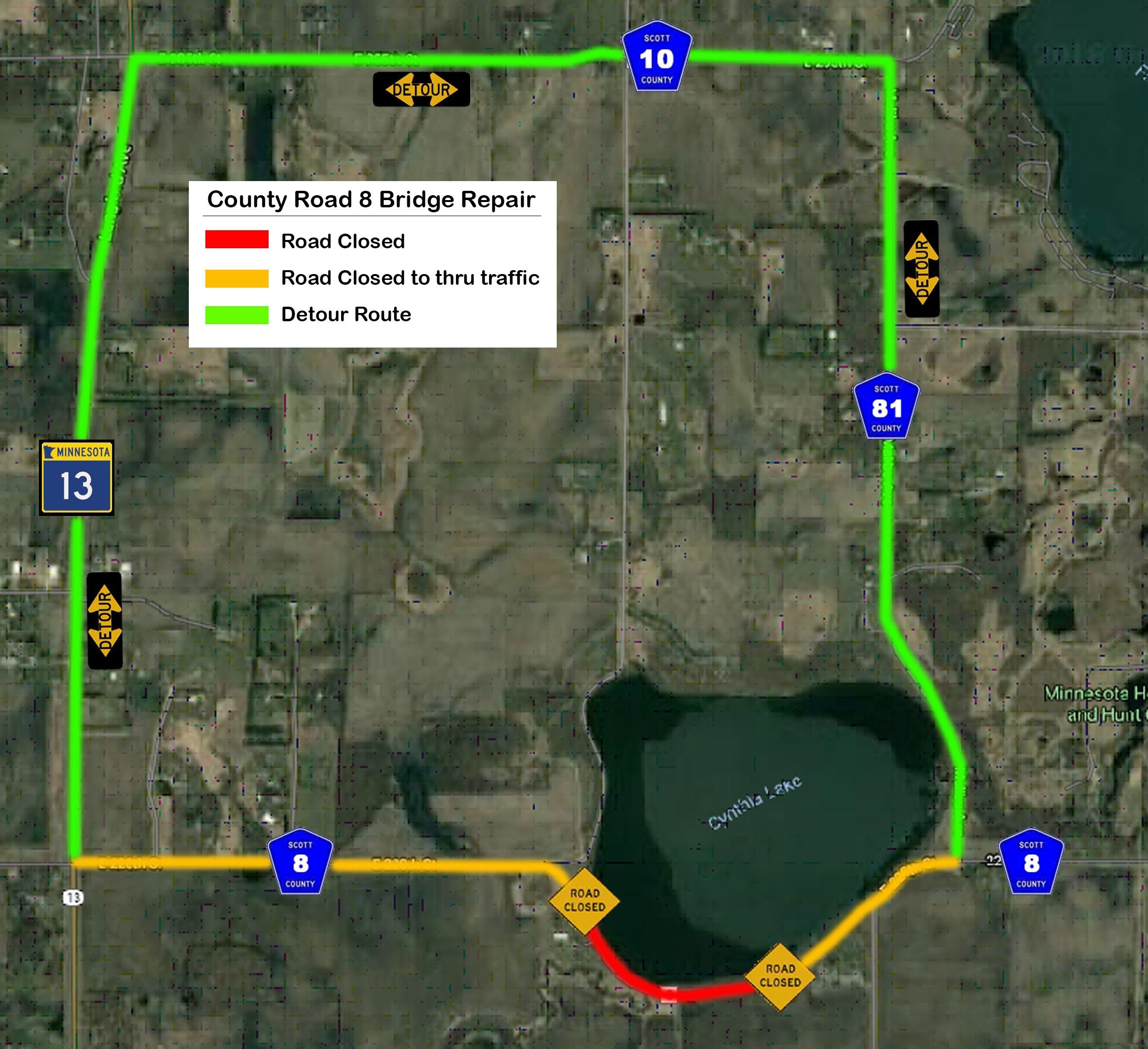 County Road 8 Bridge Repair Detour Map (2)