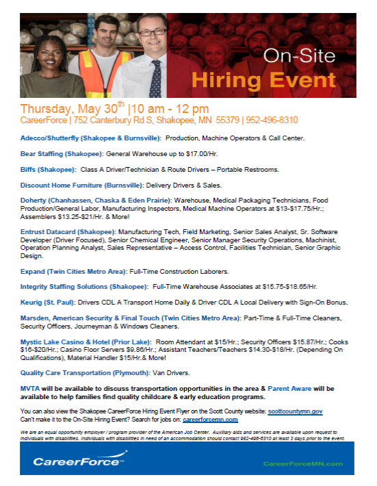 May 30 hiring event