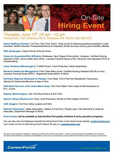 June 13 hiring event