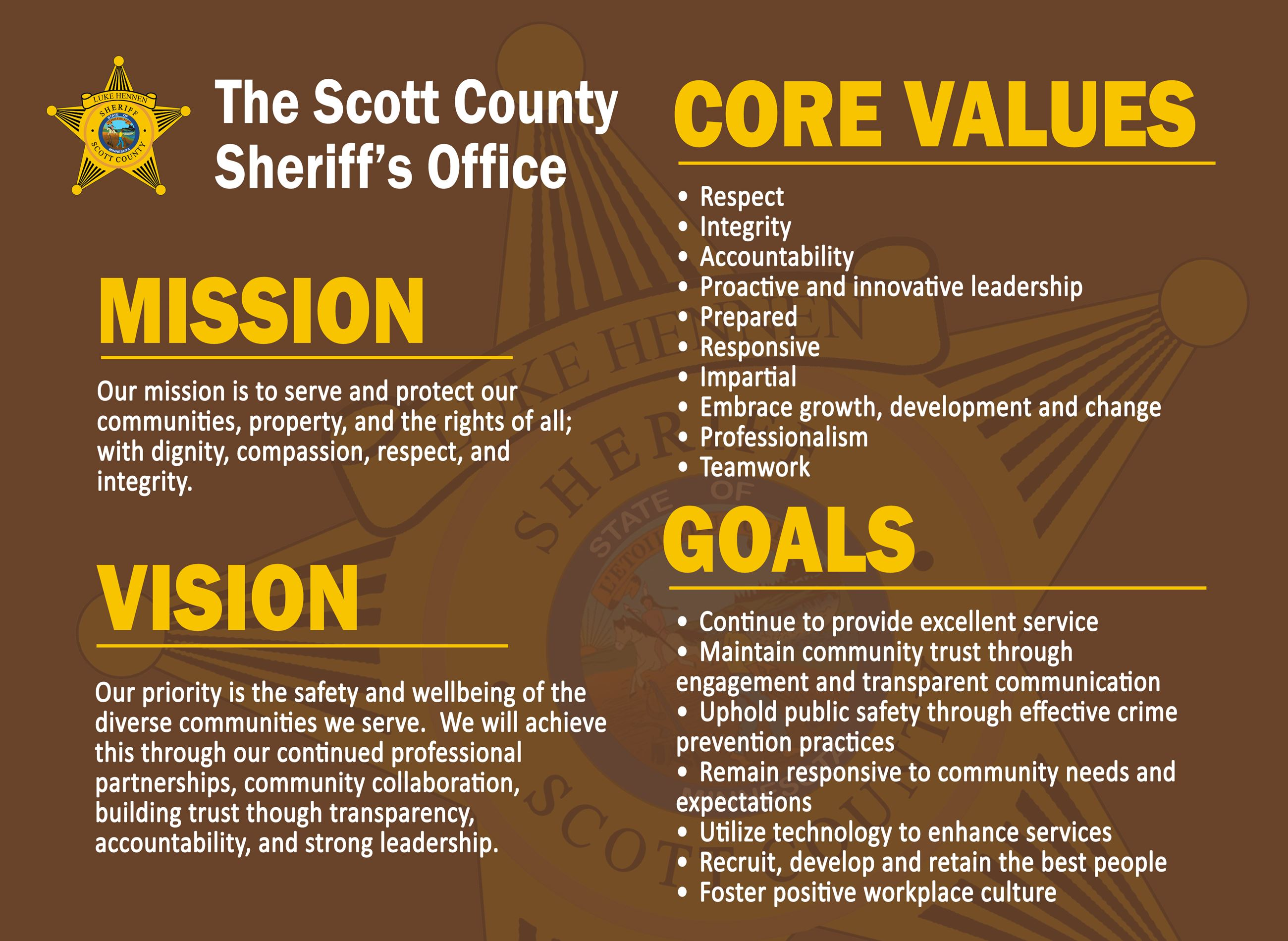 SCSO Vision Mission Values Goals