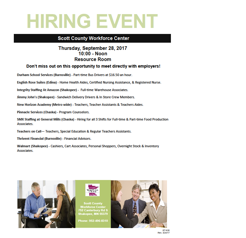 September 28 hiring event