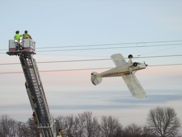 plane in power line