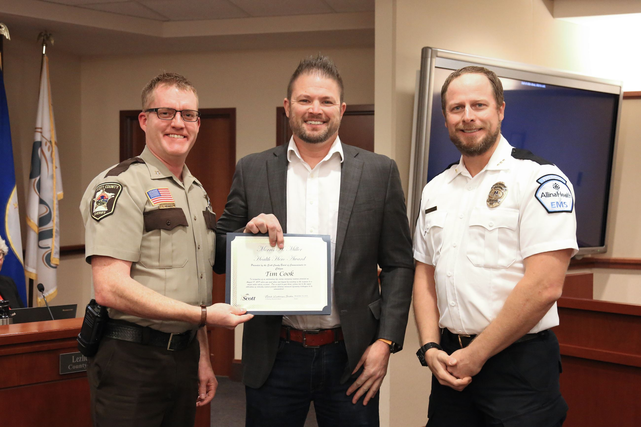 Sheriff Luke Hennen, citizen Tim Cook, Allina Dr. Andrew Stevens