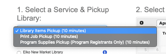 Select a Service and Pickup Library