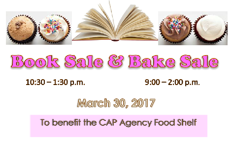 Book and Bake Sale flyer